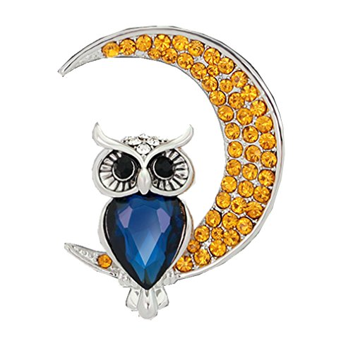 MGStyle Corsage Lapel Pin Brooch For Women - Moon & Night Owl - Rhinestone & Alloy - Blue & Yellow & Silver Tone Black Yellow Brooch
