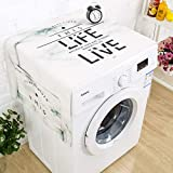 XK Simple Drum Washing Machine Top Cover, European-Style Microwave Oven Fridge Dust Proof Cover Cotton and Linen Marble Texture Bedside Table Towel-a 50x140cm(20x55inch)