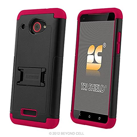 HTC Droid DNA Case, 6435, PimpCase Durable Hybrid Rugged [Full Body Protection] Armor Shockproof Black Hot Pink Phone Cover With Built In Kickstand And Screen (Cover Htc Droid Dna 6435)