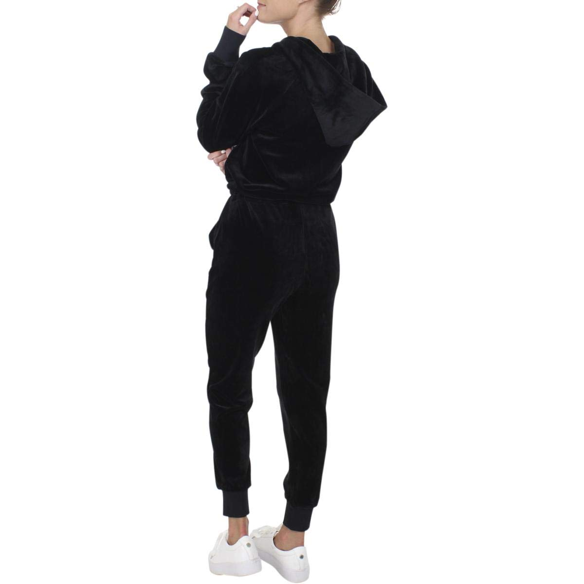 71c7eed6a785 Juicy Couture Black Label Womens Ultra Luxe Velour Hooded Casual Jogger  Jumpsuit
