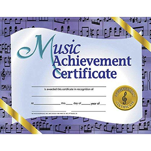 Music Achievement Certificate (Set of 30), Multi, 8.5-x-11-inch