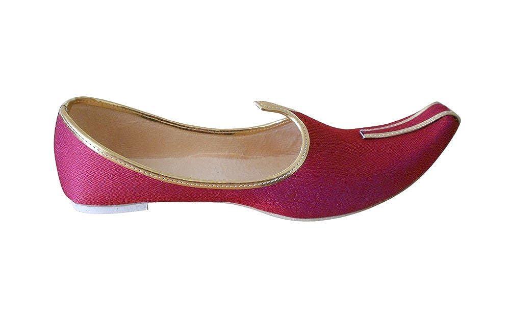 kalra Creations Hombre tradicional indio seda zapatos de boda, color Rojo, talla 39.5 EU