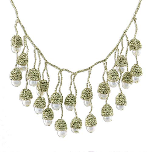 NOVICA White Cultured Freshwater Pearl Brass Necklace, 17.75