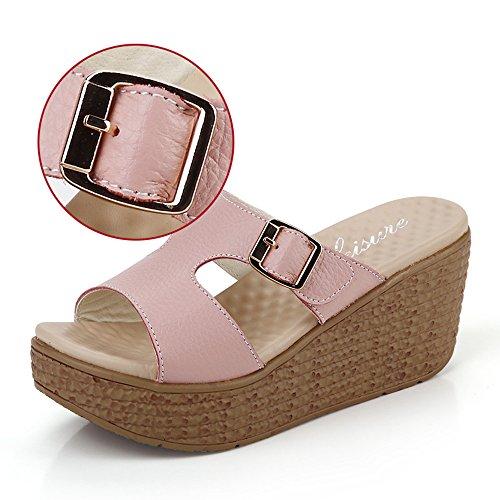 LIXIONG Portátil 6cm Zapatos del verano Zapatillas de deporte al aire libre de tacón alto de los deslizadores (blancas/azules/rosadas) -Zapatos de moda (Color : Pink, Tamaño : EU37/UK4-4.5/CN37) Pink