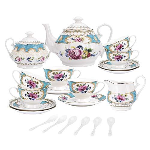fanquare 15 Piezas Juegos de Te de Porcelana Inglesa Turquesa, Vintage Juego de Cafe de Flores Rosas, Servicio de Te de Boda para Adultos