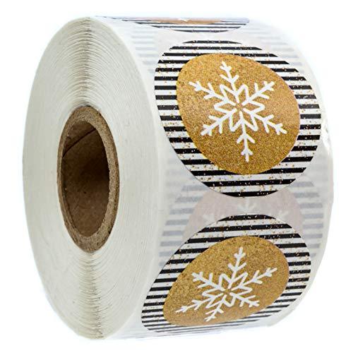 Black & Gold Snowflake Christmas Stickers/500 Christmas Tags/Snowflake Holiday Sticker