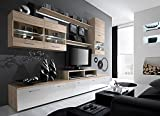 Paris Contemporary Design Wall Unit / Modern Entertainment Center / Unique Modern Design / with LED Lights / High Storage Capacity / Living Room Furniture / Tv Stand (Oak Sonoma)