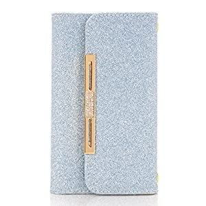 iphone 7 Case,SUNWAY Pink Crystal PU Leather 7 Card Slots Wallet Case Handbag with Detachable Magnetic Back Case & Metal Chain for iphone 7 - Blue