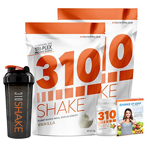Vanilla Meal Replacement | 310 Shake Protein Powder is Gluten and Dairy free, Soy Protein and Sugar Free | Includes 310 Thin, Shaker and Free Recipe eBook | 2 Pack, Each Bag Contains 28 Servings by 310 Nutrition
