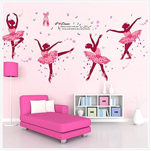 Ferris Store Cute Cartoon You Love Dance Ballet Girls Baby Room School Bedroom PVC Decor Wall Stickers Wallpaper 74x38'' by Ferris Store