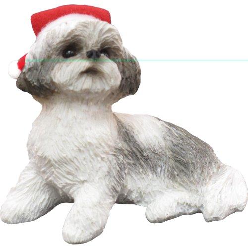 White Tzu Ornaments Shih (Sandicast Silver and White Shih Tzu with Santa Hat Christmas Ornament)