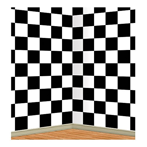 50s Sock Hop CHECKERED BACKDROP Alice In Wonderland Photo Prop PARTY -