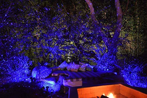 - Blue Laser Light Projector by BlissLights Commercial Grade Indoor or Outdoor Laser Star Spotlight Includes Wireless Remote, 16 LED Accent Colors, Timer, Stake, and Thousands of Firefly Pinpoints