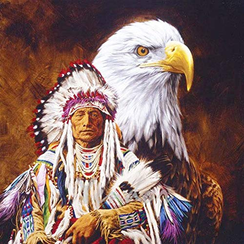 5D Diamond Painting Old Man and Eagle Diamond Painting DIY Full Diamond Home Decoration Crafts Point Drill Hand-Painted-Round 90X70Cm