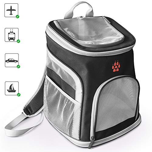 GECOUN Pet Carrier Backpack Portable Soft-Sided Dog Backpack Bag Comfort for Small Dogs Cats Airline Approved Ventilated Design Cushion Back Support