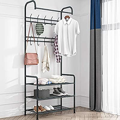 LENTIA Entryway Coat Rack Hall Tree Shoe Bench 3 in 1 Design Metal Storage Rack with Bag Coat Hat Umbrella Shoe Rack Fits Your Hallway entryway Bedroom and Dressing Room Easy Assembly (Gem Black) - Sturdy and Durable Structure: LENTIA multifunctional hanging clothes racks is made up of high quality and rust-resistant metal, which is really durable. No worry about tipping over. 3-IN-1 Designed: Perfectly combined with coat rack、storage shelf and shoes bench for your daily storage needs. The top rod provides space to hang your clothes, and the 2 extra shelves can be used to store your shoes, handbags, boxes or more accessories, which would save much space for your home and keep the entryway neat and tidy. Modern Style: Simple and elegant design make a relaxed and comfortable aesthetic, absolutely suitable for your hallway, front door, living room, bedroom and dressing room. - hall-trees, entryway-furniture-decor, entryway-laundry-room - 51GyYtkpgpL. SS400  -