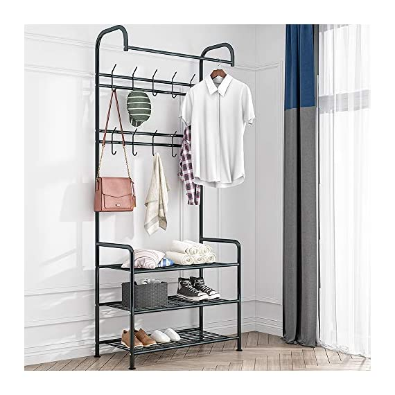 LENTIA Entryway Coat Rack Hall Tree Shoe Bench 3 in 1 Design Metal Storage Rack with Bag Coat Hat Umbrella Shoe Rack Fits Your Hallway entryway Bedroom and Dressing Room Easy Assembly (Gem Black) - Sturdy and Durable Structure: LENTIA multifunctional hanging clothes racks is made up of high quality and rust-resistant metal, which is really durable. No worry about tipping over. 3-IN-1 Designed: Perfectly combined with coat rack、storage shelf and shoes bench for your daily storage needs. The top rod provides space to hang your clothes, and the 2 extra shelves can be used to store your shoes, handbags, boxes or more accessories, which would save much space for your home and keep the entryway neat and tidy. Modern Style: Simple and elegant design make a relaxed and comfortable aesthetic, absolutely suitable for your hallway, front door, living room, bedroom and dressing room. - hall-trees, entryway-furniture-decor, entryway-laundry-room - 51GyYtkpgpL. SS570  -