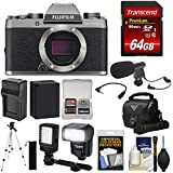 Fujifilm X-T100 Digital Camera Body (Dark Silver) 64GB Card + Battery & Charger + LED Video Light + Microphone + Flash + Case + Tripod + Kit