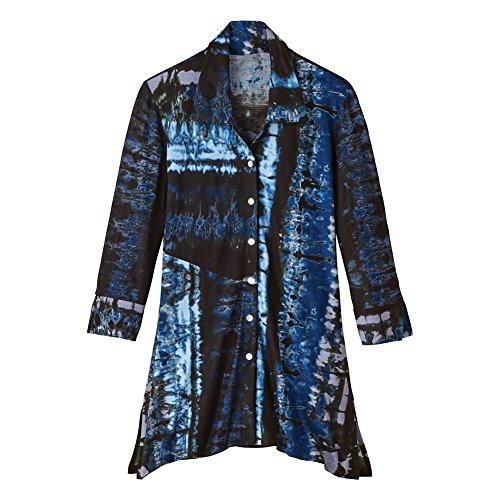 PARSLEY & SAGE Women's Tunic Shirt - Denim Shadows Button Front Collar Top - 2X