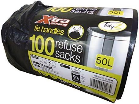 Rouleau de 100 x-tra Extra Strong Tie Poignée Noir Refuser Sac poubelle Doublure Sacs 50 L