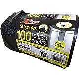 AIL rotolo di 100 sacchi della spazzatura da 50litri, ultra resistenti, con maniglie
