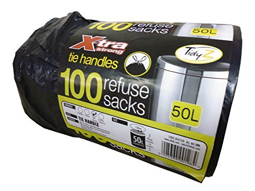 AIL Roll of 100 X-Tra Extra Strong Tie Handle Black Refuse Sack Bin Liner Bags 50 Litre