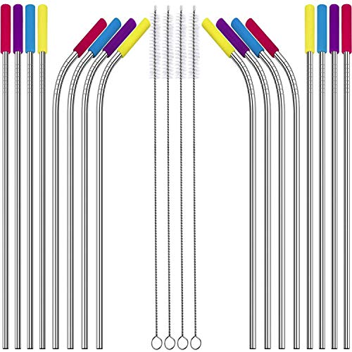 (Stainless Steel Straws 16 Reusable Drinking Metal Straws Set by Shopexy Extra Long 10.5 inch - Eco Friendly Straight and Bent Straw with Cleaning Brushes & Silicone Cover Tips - Ideal for all Juices)
