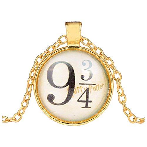 Harry Potter Hogwarts Express Platform 9 3/4 Train Cabochon Pendant Necklace - Silver, Gold (Harry Potter School Uniform)