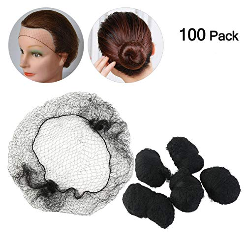 Tinksky Hair Nets Invisible Elastic Edge Mesh 100-Pack (Black) (Cooking Hair Net)