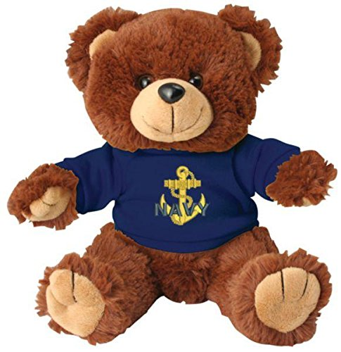 Navy Teddy Bear (US Navy Anchor on Blue T-Shirt Stuffed Teddy Bear)