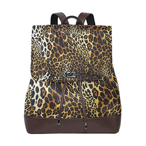 (KUWT Leopard Skin PU Leather Backpack Photo Custom Shoulder Bag School College Book Bag Casual Daypacks Diaper Bag for Women and Girl)