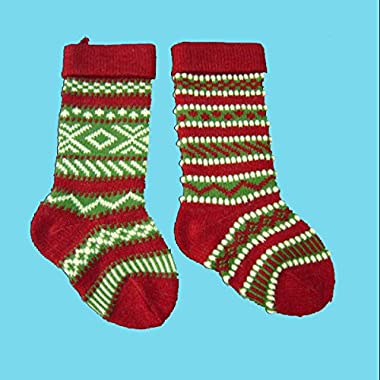 Kurt Adler B0658 Heavy Yarn Stocking, Set of 2, Red/Green