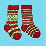 Kurt Adler B0658 Heavy Yarn Stocking, Set of 2, Red/Green