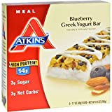 Atkins Advantage Bar - Blueberry Greek Yogurt - 5 ct - 1.7 oz - Case of 6 - High Protein 14g - Low Sugar
