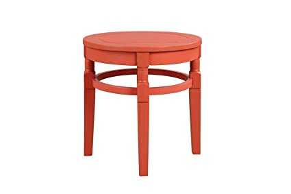Terrific Pebble Lane Living All Weather Indoor Outdoor Exclusive Elegant Hardwood Patio Round Side Table 18 X 18 X 18 Coral Beatyapartments Chair Design Images Beatyapartmentscom