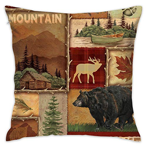 MISSMORN Pillowcases Personalized Decorative Rustic Lodge Bear Moose Pillows Cases Throw Pillow Covers 18x18 Inch for Bed Sofa Chair Car ()