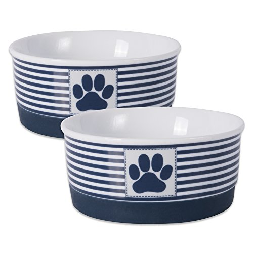 Blue Bone Dish - DII Bone Dry Paw Patch & Stripes Ceramic Pet Bowl for Food & Water with Non-Skid Silicone Rim for Dogs and Cats (Small - 4.25