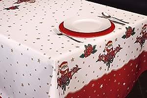 Manteles Joyeaux Noel Navidad Pascua estampados antimanchas Colores Primaverales Decoracion Hogar (240 x 150 cm)