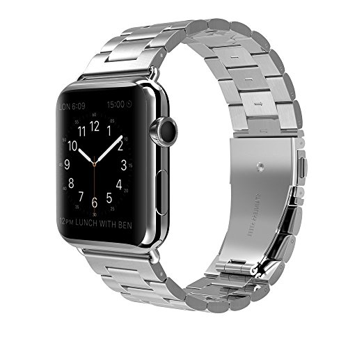 Price comparison product image Apple Watch Band 42mm Stainless Steel Wristband Metal Buckle Clasp iWatch Strap Replacement Bracelet for Apple Watch Series 3/2/1 Sports Edition 42mm Black (Silver, 42MM)