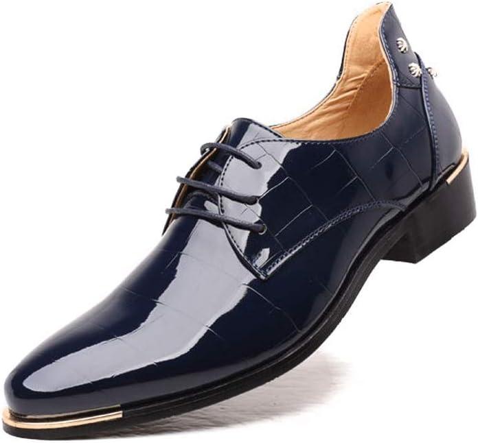 Z.L.FFLZ Zapatos Zapatos de Hombre Zapatos de Cuero extragrandes Personalidad de Moda Simple Cordones encerados Accesorios de Metal Los Zapatos de Cuero (Color : Blue, Size : 43-EU)