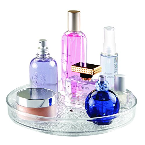 InterDesign Rain Lazy Susan Turntable Cosmetic Organizer for Vanity Cabinet, Bathroom, Kitchen Countertop to Hold Makeup, Beauty Products, 9