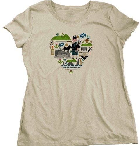 I LOVE SCOTLAND Ladies Cut T-shirt Scottish Love, Highland Pride Celtic Tee