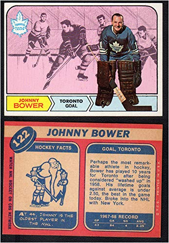 1968 Topps Regular (Hockey) card#122 Johnny Bower of the Toronto Maple Leafs Grade Excellent to Excellent Mint