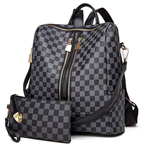 Backpack for women Fashion Leather Ladies Rucksack Crossbody Shoulder Bag 2pcs Purses Backpack Set (Black-01) (Backpack Ladies Handbags)