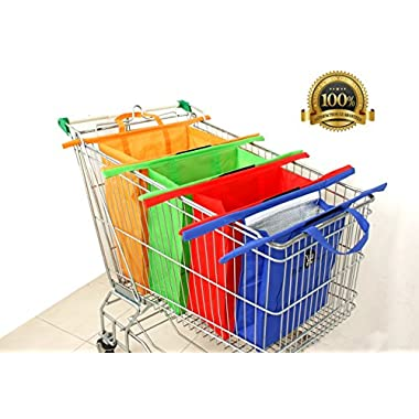 Reusable Shopping Trolley/Cart Bags By Eezi Shop. Eco-friendly 4 Bag Set Includes a Larger Insulated Cooler Bag for Hot, Chilled or Frozen Produce. Stronger and Better, So Buy a Set Now!