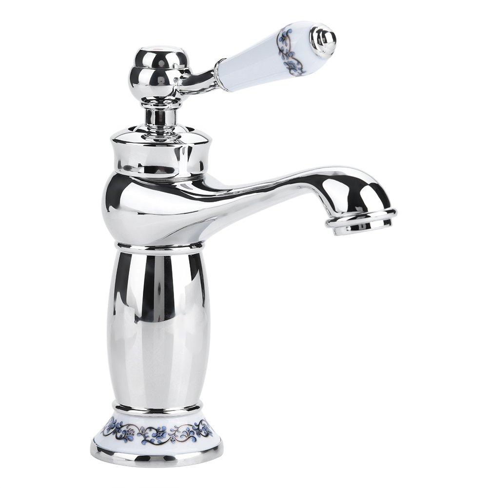 Ceramic Antique Brass Faucet Bathroom Sink Faucet Blue White Porcelain Long Neck Vintage Faucet Mixer Sink Tap Kitchen Cold/Hot Water Basin Tap(Chromed)