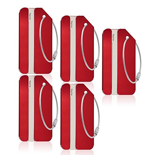 CPACC Aluminum Luggage Tag For Luggage Baggage Travel Identifier By CPACC (Red 5PCS)