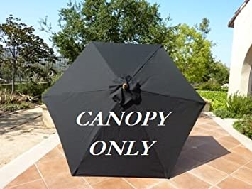 9ft Umbrella Replacement Canopy 6 Ribs in Black (Canopy Only) & Amazon.com : 9ft Umbrella Replacement Canopy 6 Ribs in Black ...