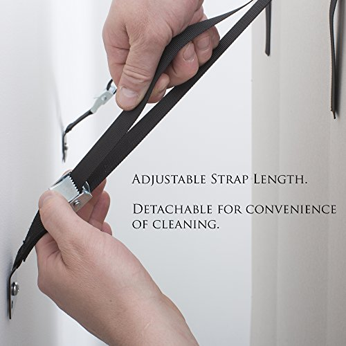The Baby Lodge TV And Furniture Wall Straps - Anti Tip Safety Anchor For Baby Proofing Flat Screen TV, Dressers, Cabinets, Wardrobe, Bookcase, and More - All Metal, No Plastic Parts (2 Pack, Black)
