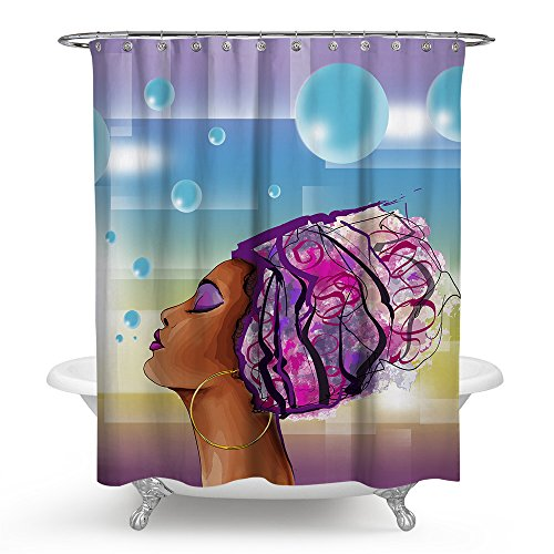 African American Shower Cutain Woman Abstract Print Waterproof Mildew Resistant Fabric Polyester Bath Curtain for Hip Pop Art Bathroom Decor (71x71 inch, woman)